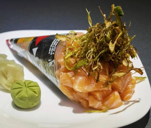 163 – temaki salmão poró crisps