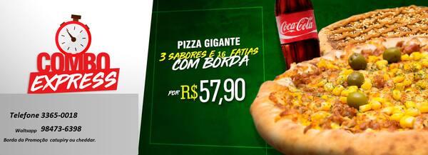 Pizza 16 fatias 40 gigante+ borda cheddar+coca cola