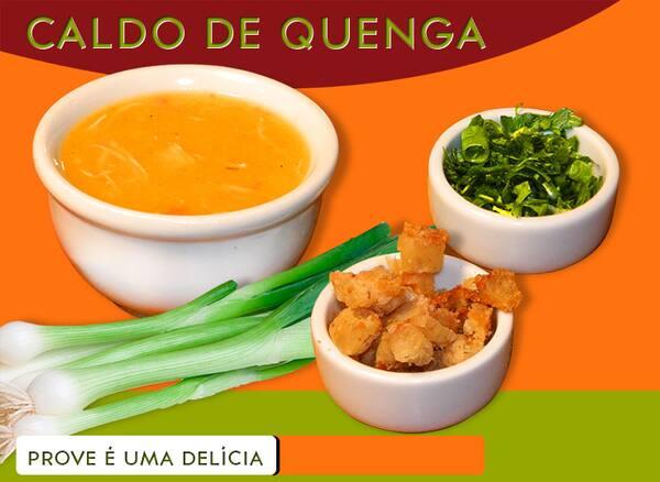 Caldo quente  de kenga 500 ml : frango,milho e mandioca