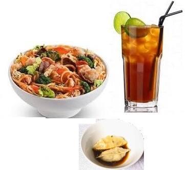 Combo clássico (prato+guiozas+chá)
