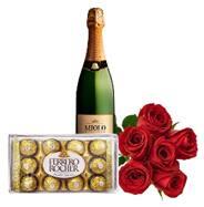 Buquê de 6 rosas vermelhas com espumante e chocolate