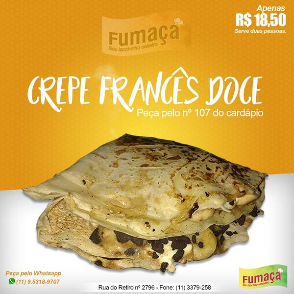 CREPE DOCE COM BARRA DE CHOCOLATE
