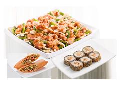 Compre um frango xadrez e ganhe hot roll de salmão grelhado ou rolinho primavera