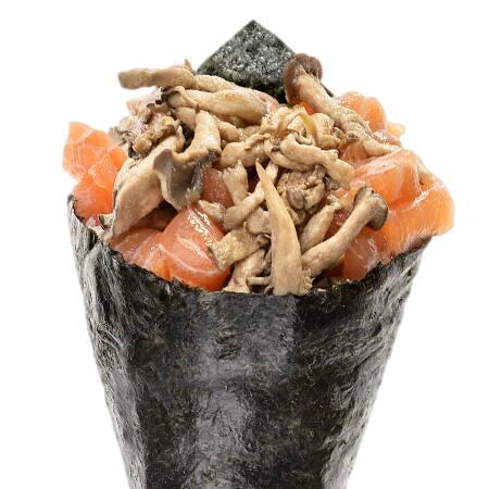 Temaki especial de salmão e shimeji