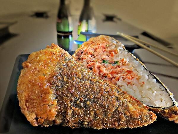 Temaki de salmão empanado