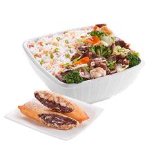 Carne com legumes pequeno executivo+ rolinho banana chocolate - 01 unidade