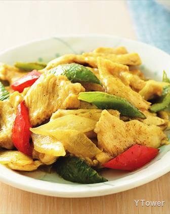45-carne fatiada com pimentão e cebola ao molho curry