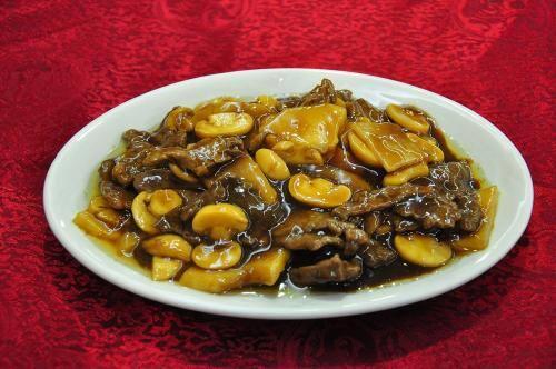 46-carne fatiada com bambu e cogumelo