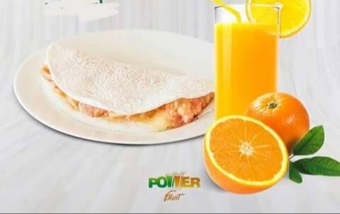 Tapioca + suco de laranja