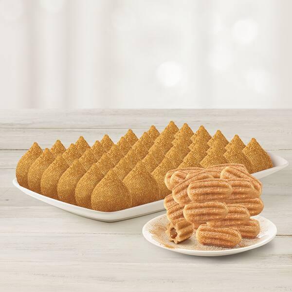 Combo 48 coxinhas (frango com cremely ou calabresa) + 24 churros