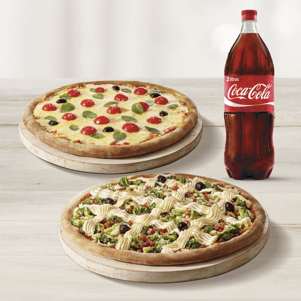 Pizza casadinha belezzuras + refrigerante 2l ou suco de 1l