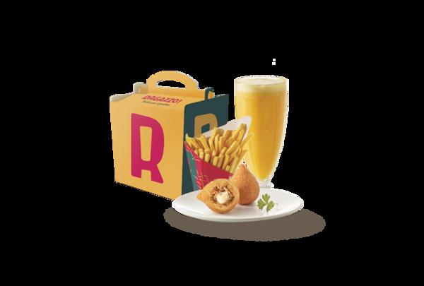 Kit infantil ragazzo coxinha (2 coxinhas + batata média + suco 300ml + brinde)