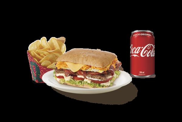 Combo quadraburguer picanha barbecue (batata média + refrigerante lata ou suco de 300ml)