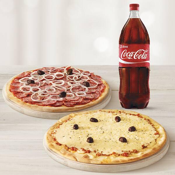 Pizza casadinha + refrigerante 2 litros