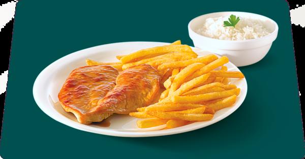 Almoço com filé de frango grelhado