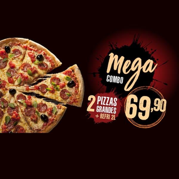 2 pizzas grandes 35cm à lenha + 1 refrigerante 1, 5 litros