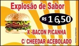 EXPLOSAO DE SABOR -  X-Bacon Picanha c/ Cheddar Acebolado