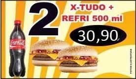 Promoção - 02 x-tudo + refrigerante 600ml