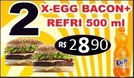 Promoção - 02 x-egg bacon + refrigerante 600ml