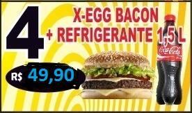 Promoção - 04 x-egg bacon + refrigerante (1,5 litros) Kuat