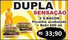 Promoção dupla sensação - 02 x-bacon picanha acebolado + refri600 ml