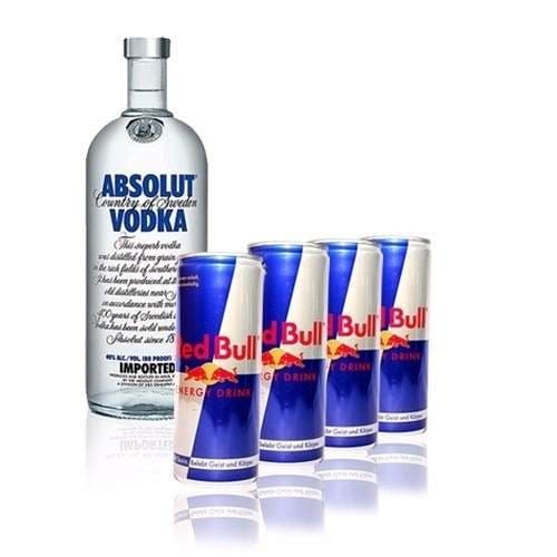 Absolut 1l + 4 Red Bull 250ml + gelo filtrado 3, 5 kg