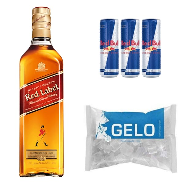 Red Label + 4 Red Bull 250ml + gelo filtrado 3, 5kg