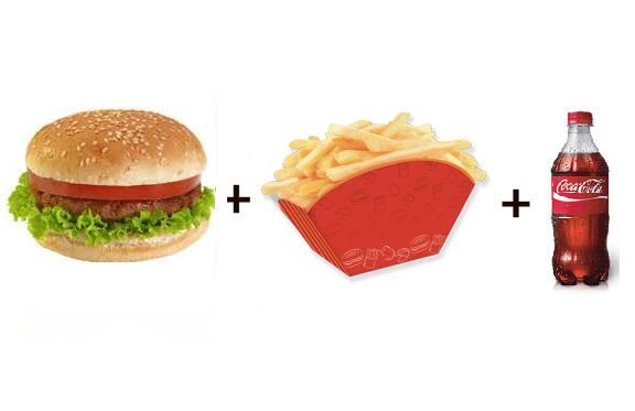 Hambúrguer + batata frita + refri