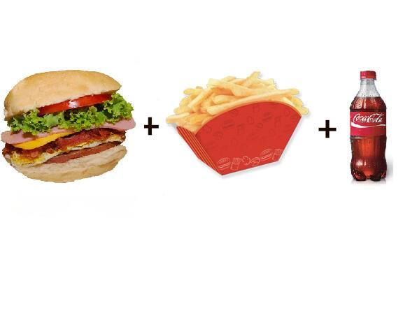 X-tudo + batata frita + refri
