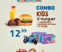 COMBO KIDS 1 SANDUÍCHE + SUCO + BRINQUEDO E 1 TRUFA (MASCULINO)