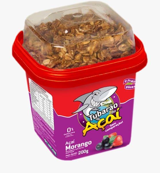 Açai tubarao de morango pote de 200 ml com granola
