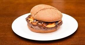 630 - pão australiano, hamburguer 160g, queijo cheddar e cebola caramelizada