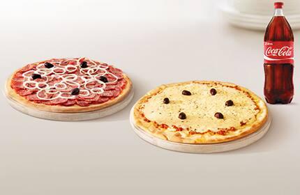 Promoção pizza casadinha com bebida (2 pizzas + pet 2 litros ou suco 1 litro)