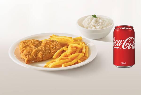 Combo filé de frango grelhado ou milanesa + refrigerante lata ou suco 300ml