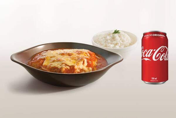 Combo filé de frango a parmegiana + refrigerante lata ou suco de 300ml