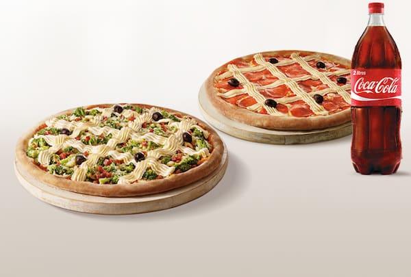 Promoção pizza casadinha genialle com bebida (2 pizzas + pet 2 litros ou suco 1 litro)