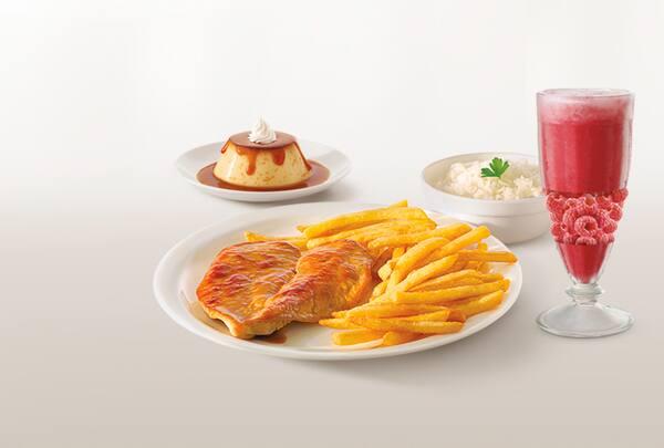 Combo filé de frango grelhado ou milanesa (suco premium 500ml + sobremesa)