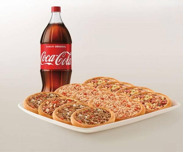 Promoção compre 10 leve 12 esfihas (carne/ calabresa com mussarela ou frango) + refrigerante 2l ou suco 1l