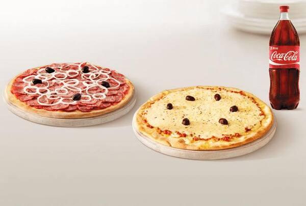 Promoção pizza casadinha com bebida (2 pizzas + ref 2 litros ou suco 1 litro)