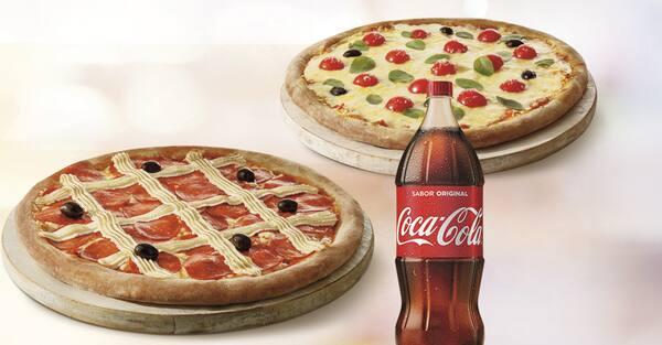 Mais por menos: pizza genialle casadinha + refri 2l ou suco 1l