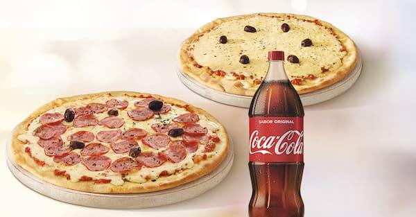 Mais por menos: pizza tradicional casadinha + refri 2l ou suco 1l