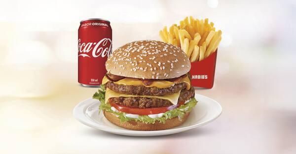 Combo mega picanha bacon: hambúrguer + fritas g + bebida 300 ml