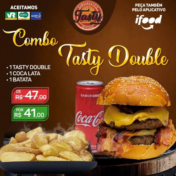 Meio combo double tasty: 1 double tasty/ 1 coca/ 1 batata individual