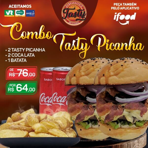 Combo tasty picanha : 2 tasty picanha / 2 coca / 1 batata individual