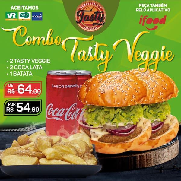 Combo veggie : 2 tasty veggie (burguer de beringela) / 2 coca / 1 batata individual