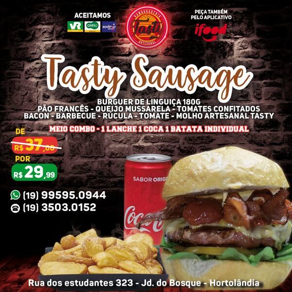 Meio-Combo Sausage N°10 ( Burger de Linguiça 180g/ 1 Coca-lata / 1 Batata Individual )