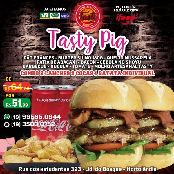 Combo Pig n°9 ( 2 Tasty Pig , 2 Coca-lata , 1 Batata Individual )