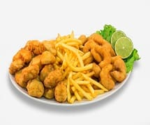 Isca de peixe, fritas e camarão à milanesa  (2 a 3 pessoas)