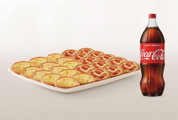 Promoção compre 20 leve 25 esfihas (queijo ou italianinha) + refrigerante 2l ou suco 1l