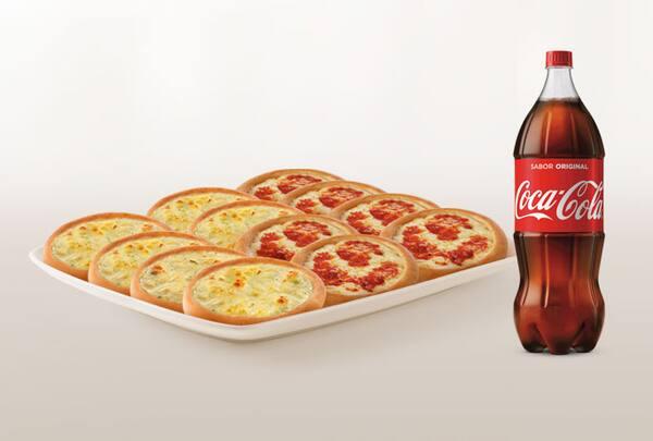 Promoção compre 10 leve 12 esfihas (queijo ou italianinha) + refrigerante 2l ou suco 1l